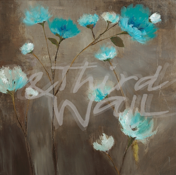 transitional floral, seattle art, aqua, blue, neutrals