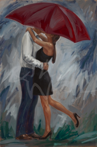 romance, rain, love, figures, figurative, romantic, couple, seattle art
