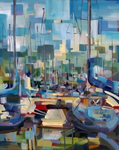 transitional abstract coastal sailboats sailing seattle art summer