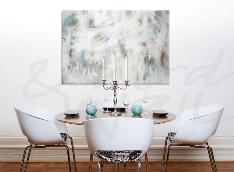 white, abstract, seattle art, liz jardine, interiors, dining room
