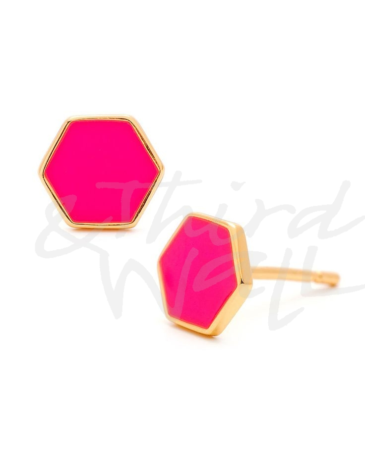 Pink Hexagon Studs
