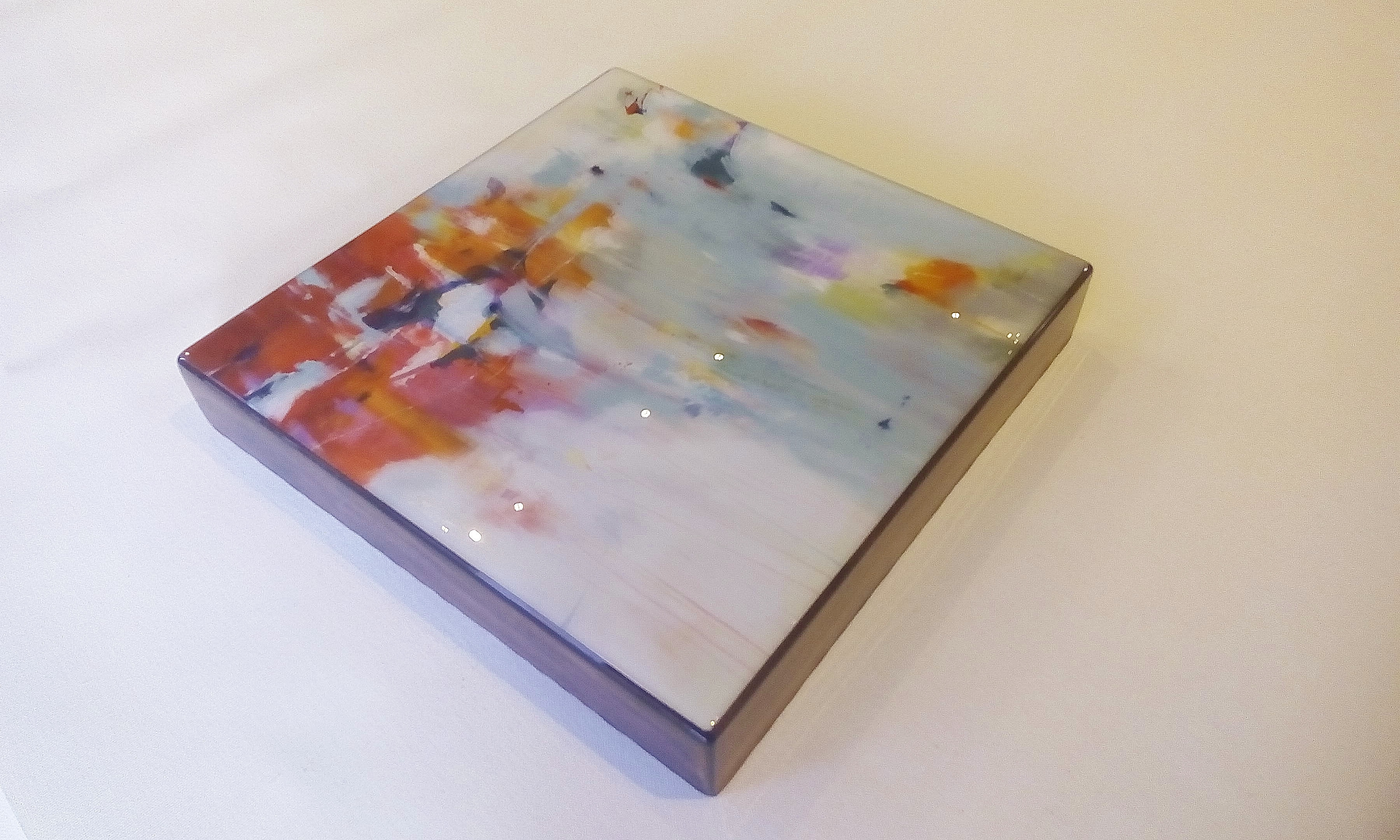 "A flushmount resin box of ""Recollections of Red"" by Jill Martin"