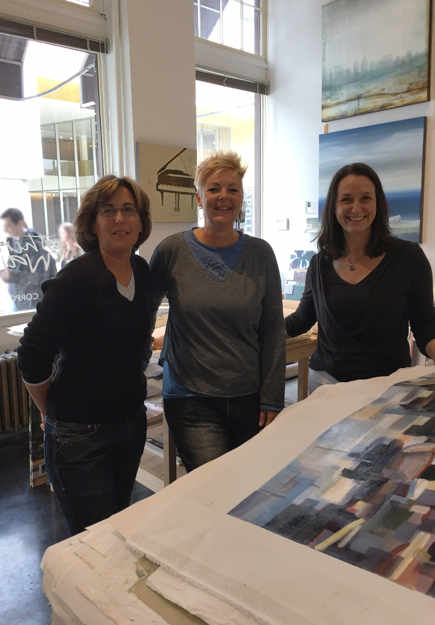 Penny Alspeth, Lisa Ridgers and Aimee Clarke in the 3&W showroom