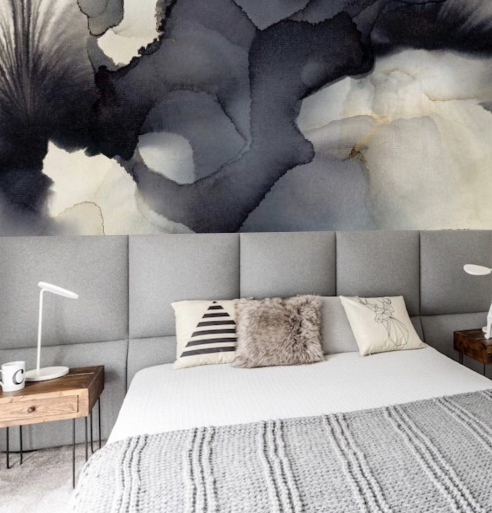feature wall statement dramatic abstraction painting-like bold strokes abstract black white European designer wallpaper  wallcovering